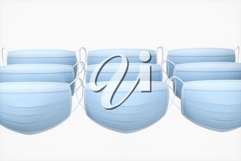Masks with white background, medical concept, 3d rendering. Computer digital drawing.
