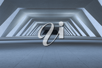 Concrete hexagonal tunnel, modern architecture, 3d rendering. Computer digital drawing.