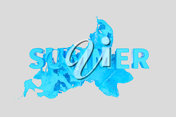 3D font of SUMMER with blue liquid pouring down, 3d rendering. Computer digital drawing.