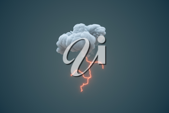 Dark clouds and lightning, weather forecast, 3d rendering. Computer digital drawing.