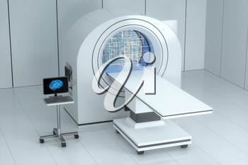 The medical equipment CT machine in the white empty room, 3d rendering. Computer digital drawing.