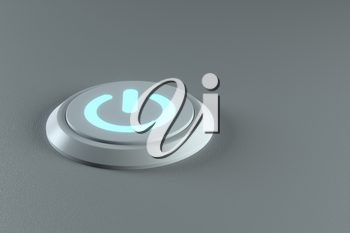 Button and switch with grey background,abstract conception ,3d rendering. Computer digital drawing.