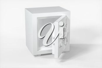 Mechanical safe, white box model with white background, 3d rendering. Computer digital drawing.