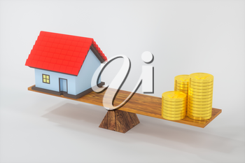 Balance of money and house,abstract conception, 3d rendering. Computer digital drawing.