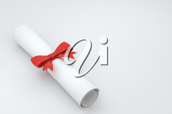 Diploma, paper scroll with red ribbon isolated on white background, 3d rendering. Computer digital drawing.