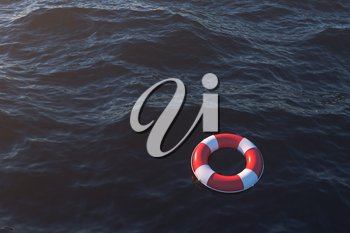 Life buoy on the ocean surface, 3d rendering. Computer digital drawing.