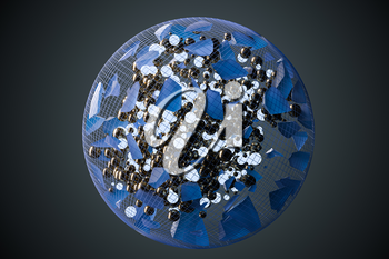 The broken pieces of the crystal and balls in the grid sphere, 3d rendering. Computer digital drawing.