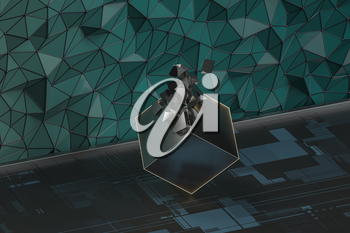 Cracked metal cube with grid pattern background, 3d rendering. Computer digital drawing.