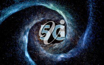 5G font with universe background, 3d rendering. Computer digital drawing.