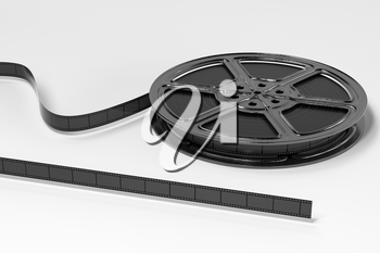 Film tapes with white background, 3d rendering. Computer digital drawing.