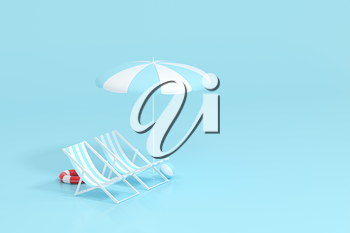 Sunshade, beach chair with blue background, 3d rendering. Computer digital drawing.