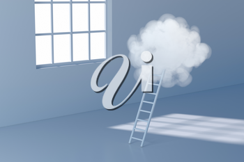 Conceptual room with a ladder lead to the cloud, 3d rendering. Computer digital drawing.