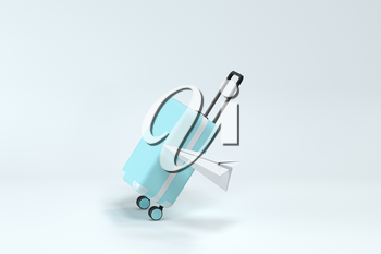 Luggage and paper airplane with white background, 3d rendering. Computer digital drawing.