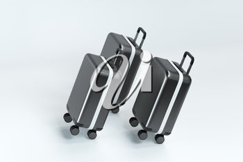 Luggage with white background, 3d rendering. Computer digital drawing.