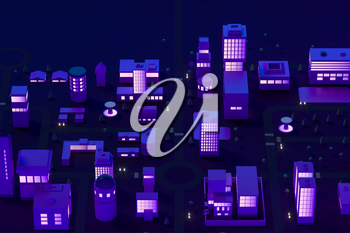 Downtown building at night, simulation city, 3d rendering. Computer digital drawing.