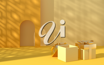 Creative empty background with gift boxes, 3d rendering. Computer digital drawing.