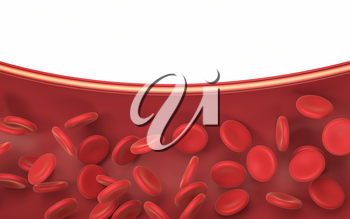 Red blood cells in the blood vessel, 3d rendering. Computer digital drawing.