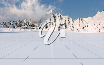 Snowy mountains with empty floor background, 3d rendering. Computer digital drawing.