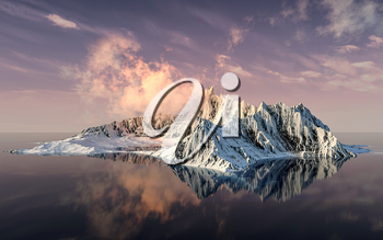 Snowy mountains with sunset background, 3d rendering. Computer digital drawing.
