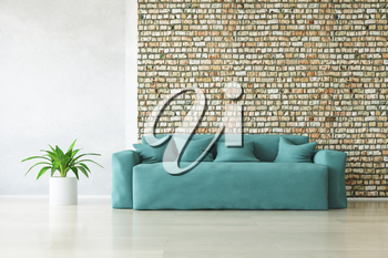 Modern Turquoise Sofa with Pillows and Plant near the Stylish Brick Wall on the Wooden Floor, Fashion Decor, Living Room Conceptual Style, 3D Rendering Trendy Art Graphic Design.