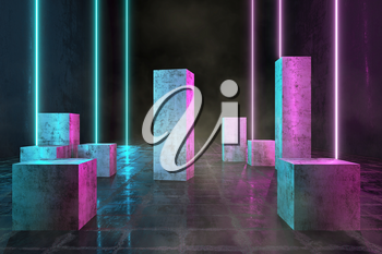 Led Technology Lines, Neon 3D Glow Lights with Fluorescence, Futuristic Grunge Dirty Columns, 3D Rendering Background, Underground Abstract Sci-Fi Design, Conceptual Cosmic Tomorrow Aesthetic Style.