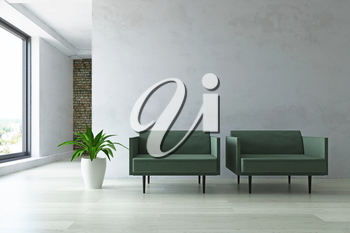 Interior with Two Armchairs, Green Plants with Planter in the Hall near the Old Plaster Wall, Minimalistic Modern Room Decor, Fashion Style, 3D Rendering Illustration, Contemporary Graphic Design