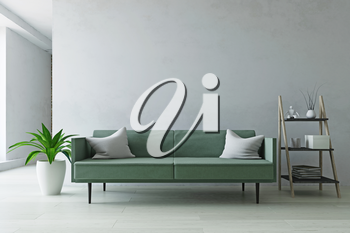 Interior Room with Contemporary Furniture, Green Sofa, Plant and Ladder Shelf near the Old White Wall, Simple Modern Home Decor, Fashion Style, 3D Rendering Illustration, Contemporary Graphic Design