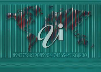 Royalty Free Clipart Image of a World as a Bar Code
