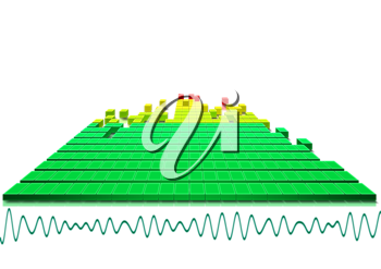 Royalty Free Clipart Image of a Bar Chart With an Equalizer