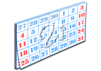Royalty Free Clipart Image of a Page of a Calendar