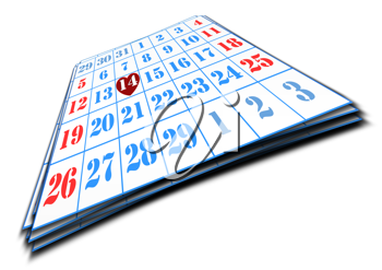 Royalty Free Clipart Image of a Valentines Day Marked on a Calendar
