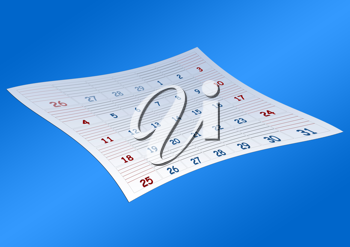 Royalty Free Clipart Image of a Last Page of a Calendar