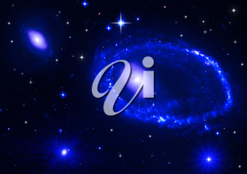 Royalty Free Clipart Image of a Black Background With Blue Lights