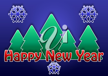 Royalty Free Clipart Image of a New Year Background With Trees and Snowflakes