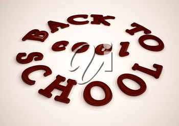 Dimensional inscription Back to school. 3D illustration.