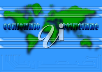 Royalty Free Clipart Image of a Map of the Word With Binary Code