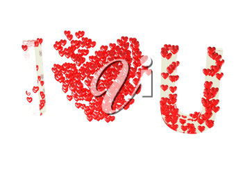 Inscription I love you made of red small hearts