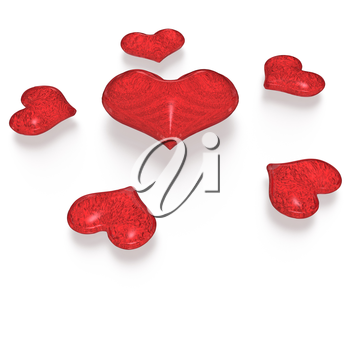 Red Valentine hearts isolated on white. Three dimensional render.