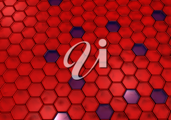 Abstract honeycomb background 3d illustration or backdrop.