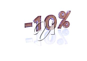 Transparent inscription minus 10 percent with a set of gold signs of percent in it