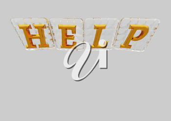The HELP word made of blocks with letters