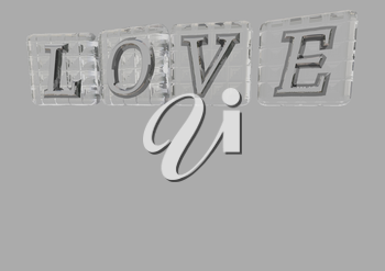 The LOVE word made of blocks with letters