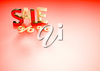 Dimensional inscription of SALE and percents near it.