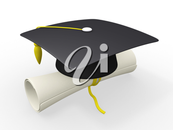 Royalty Free Clipart Image of a Graduation Cap and Diploma