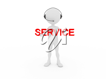 Royalty Free Clipart Image of a Service Person Wearing a Headset