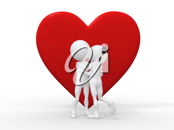 Royalty Free Clipart Image of Figures Hugging