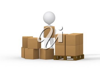 Royalty Free Clipart Image of a Figure Carrying Boxes