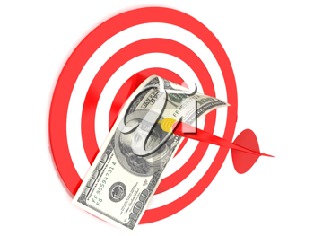 Royalty Free Clipart Image of a Hundred Dollar Bill on a Dartboard