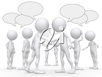 Royalty Free Clipart Image of a People and Speech Bubbles