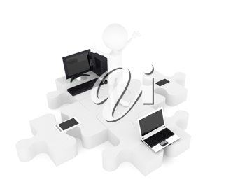 Royalty Free Clipart Image of Person and Computers on Puzzle Pieces